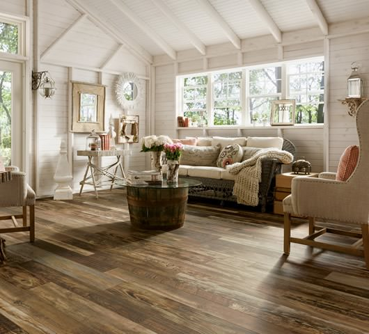 Example of how dark laminate flooring could look in a living room in Saskatoon